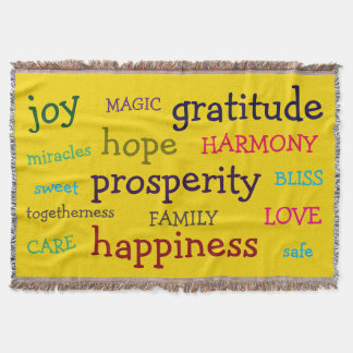 Colourful Words Inspirational Throw Blanket