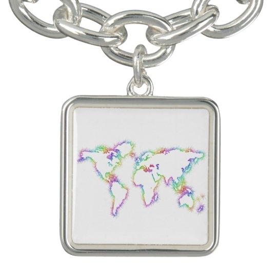 Colourful World map Bracelet