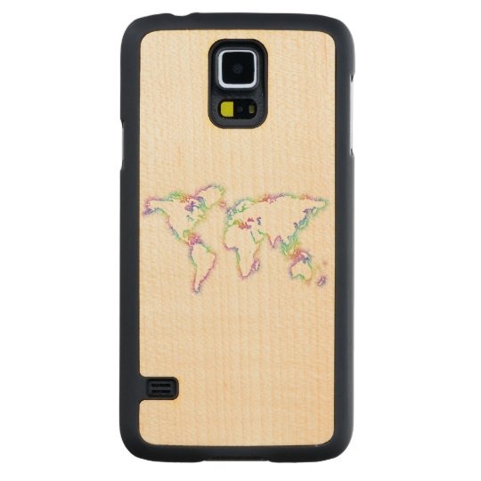 Colourful World map Carved Maple Galaxy S5 Case