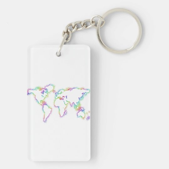 Colourful World map Keychain