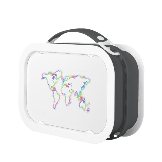Colourful World map Lunch Box