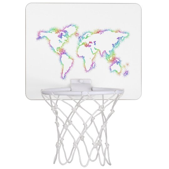 Colourful World map Mini Basketball Hoop