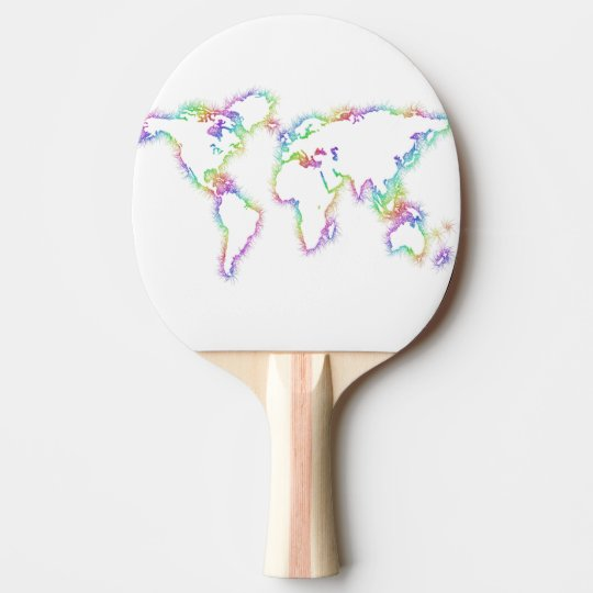 Colourful World map Ping Pong Paddle