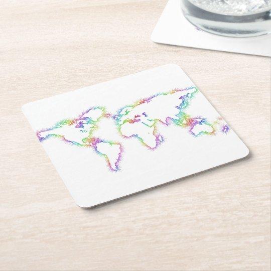 Colourful World map Square Paper Coaster