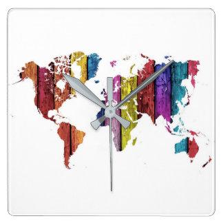 Colourful World Map Wall Clock
