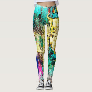 Colourful Wraparound Abstract Art Leggings