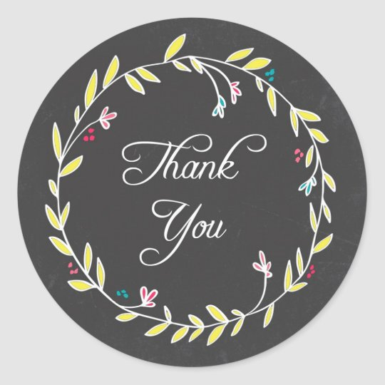 Colourful Wreath Chalkboard Thank You Stickers