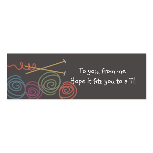 Yarn balls knitting needles gift tags pack of skinny business cards