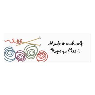 colourful yarn balls knitting needles gift tags mini business card