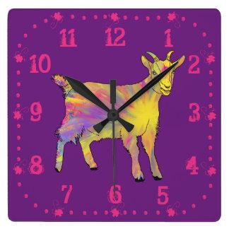 Colourful Yellow Flaming Art Goat Animal Design Clocks