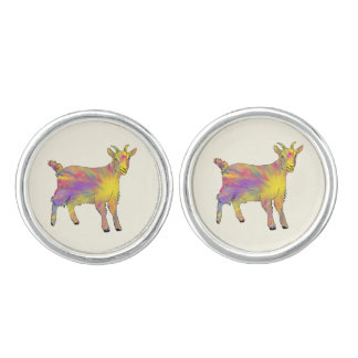 Colourful Yellow Flaming Art Goat Animal Design Cufflinks
