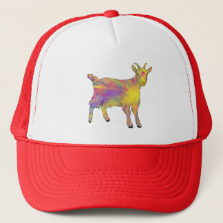 Colourful Yellow Flaming Art Goat Animal Design Trucker Hat