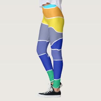 Colourful Yellow, Orange, Blue and Green Stripes Leggings