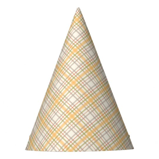 Colourful Yellow Plaid Party Hat