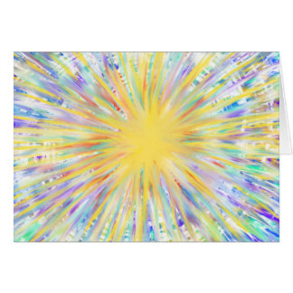Colourful Yellow Starburst Abstract Art Design Card