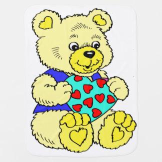 Colourful Yellow Teddy Bear Baby Blanket