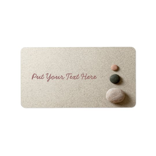 Colourful Zen Stones On Sand Background Label