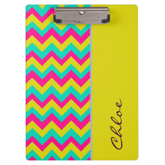 colourful zigzag pattern personalized by name clipboard