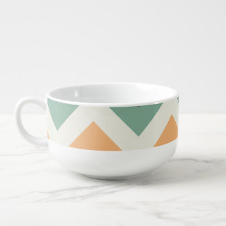 Colourful zigzag stripes soup bowl with handle