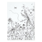 Colouring Card Whimsical Fantasy Dragonfly Art