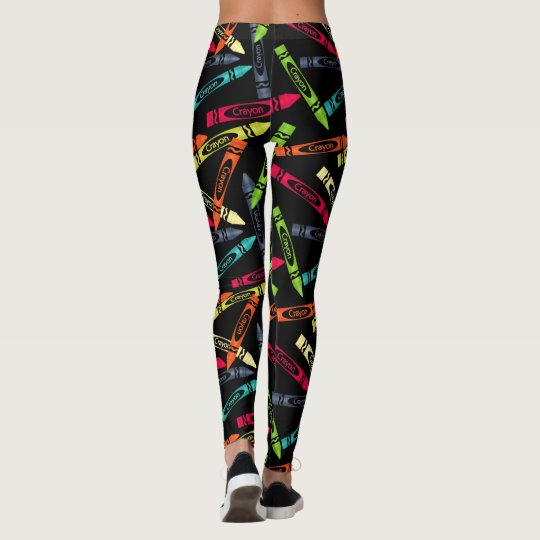 Colouring Crayons on Black, Cute Women's Leggings