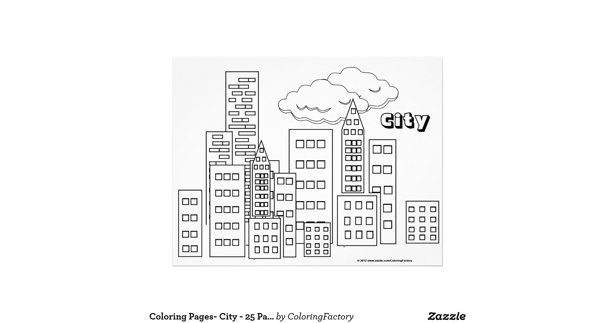 Colouring pages city 25 pack flyer design zazzle for Flyers coloring pages