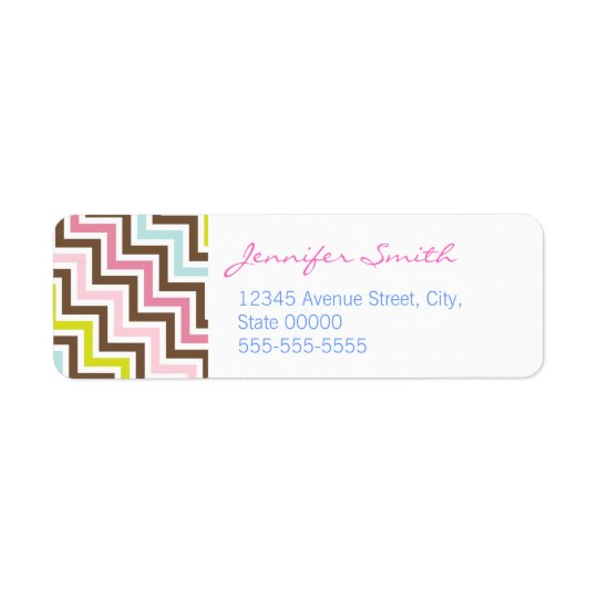 Colours Diagonal Zigzag Chevron Pattern Return Address Label