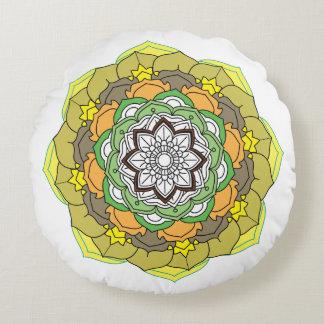 Colours flower Mandalas. Vintage decorative elemen Round Pillow