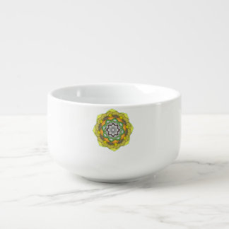Colours mandala decorative element. soup mug