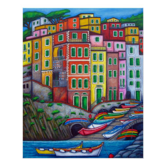 Colours of Riomaggiore by Lisa Lorenz Poster