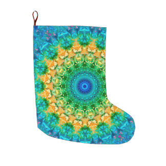 Colrful Blue, Yellow, and Green Holiday Large Christmas Stocking