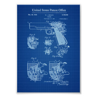 Colt 1911 Firearm Patent - Blueprint Poster