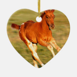 Colt In Motion Ceramic Heart Ornament