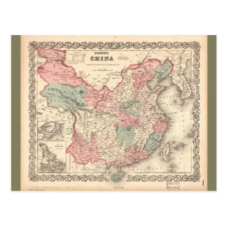 Colton's Map of China (1871) Postcard