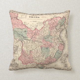 Colton's Map of China (1871) Throw Pillow
