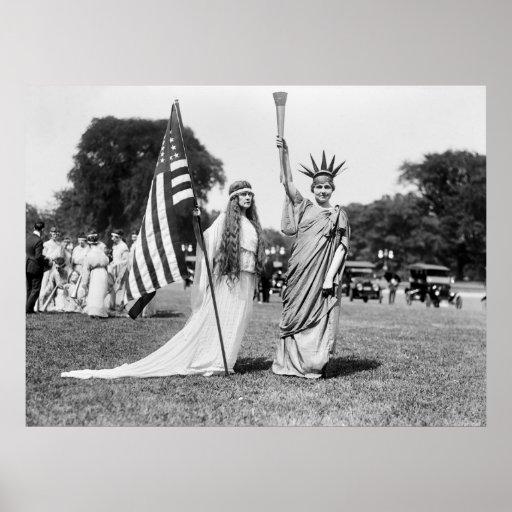Columbia and Lady Liberty, 1919 Print