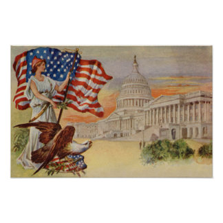 Columbia and United States Capitol Building Poster
