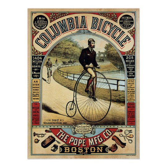COLUMBIA BICYCLE c. 1890 Poster