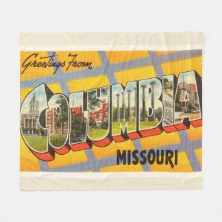 Columbia Missouri MO Old Vintage Travel Souvenir Fleece Blanket