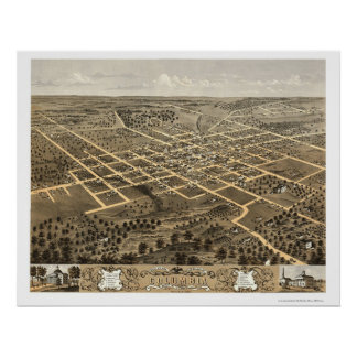 Columbia, MO Panoramic Map - 1869 Poster