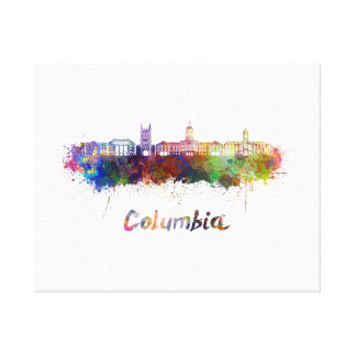 Columbia MO skyline in watercolor Canvas Print
