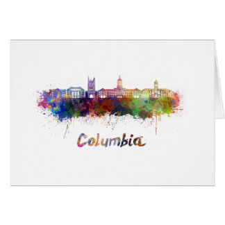 Columbia MO skyline in watercolor Card