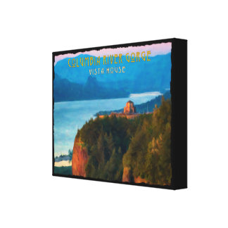 Columbia River Gorge and Vista House retro print