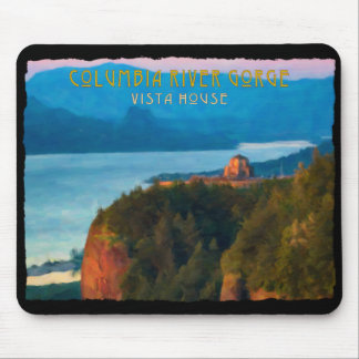 Columbia River Gorge and Vista House retro print Mouse Pad