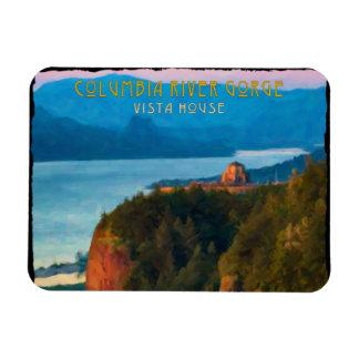 Columbia River Gorge and Vista House retro print Rectangular Photo Magnet