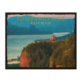 Columbia River Gorge and Vista House retro print Wood Prints