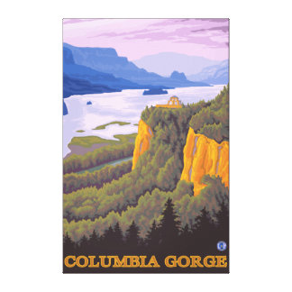 Columbia River Gorge Scene with Crown Point Canvas Print