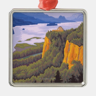 Columbia River Gorge Scene with Crown Point Silver-Colored Square Ornament