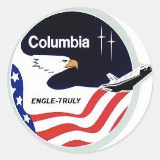 columbia space shuttle round sticker