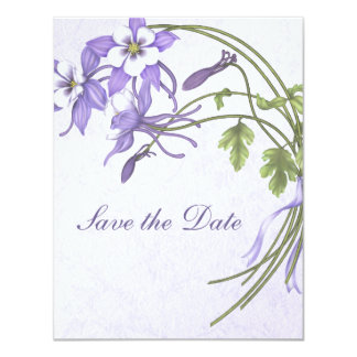 "Columbine Bouquet Save the Date 4.25"" X 5.5"" Invitation Card"